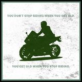 Man on a very fast motorcycle. On grunge background stock illustration