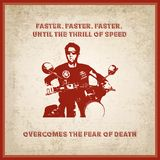 Man on a very fast motorcycle. On grunge background vector illustration