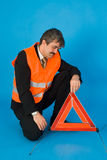 Man with vest. A man with a orange warning vest Royalty Free Stock Images