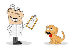 The man is a veterinarian and dog. On a white background. Vector illustration Royalty Free Stock Photos