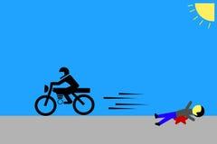 Man - victim of Bike Accident. Simple illustration of victim of Bike Accident Royalty Free Stock Photos