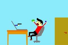 Man - Victim of Cyber crime. Simple illustration, Man - Victim of Cyber crime Royalty Free Stock Photo