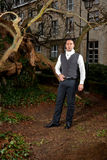Man in Victorian clothing in the park stock images