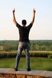 Man in Victory Stance stock images