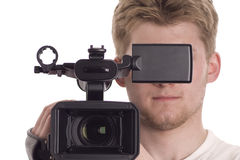 Man with video camcorder Stock Photo