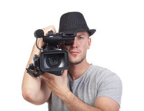 Man with video camera Royalty Free Stock Image