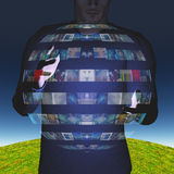 Man with video sphere display Stock Images