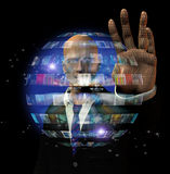 Man and video sphere Royalty Free Stock Photos
