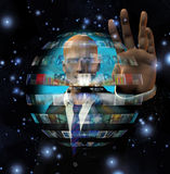 Man and video sphere. With Scintillation Royalty Free Stock Photo
