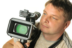 The man with a videocamera Stock Photography