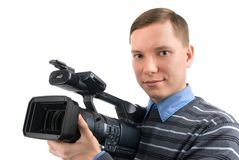 Man with a videocamera Royalty Free Stock Image