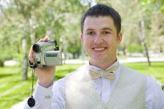 Man with videocamera Royalty Free Stock Photo