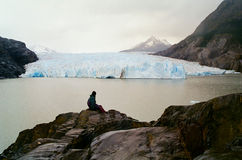 Man viewing Glacier, Chile. A man viewing the Grey glacier in the Torres Del Paine trek, Chile stock photo