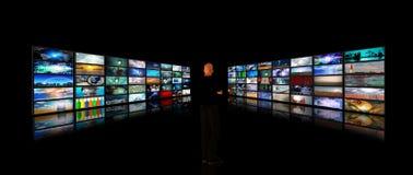 Man viewing video displays royalty free illustration