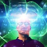 Man views media sphere Stock Photography