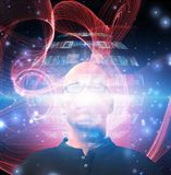 Man views video sphere. Surrounding his head. Human elements were created with 3D software and are not from any actual human likenesses stock illustration