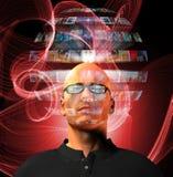 Man views video sphere surrounding his head stock illustration