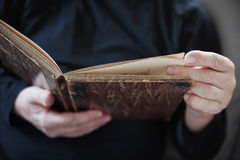 Man with vintage book Stock Images