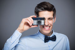 Man with vintage camera Stock Photo