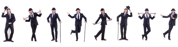 The man in vintage concept with walking stick Stock Photography