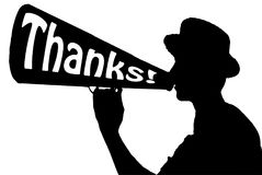 Thanks Appreciation Celebration Announcer with Megaphone Royalty Free Stock Image