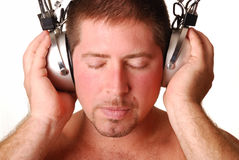 Man with vintage headphones Stock Image