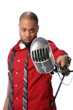 Man With VIntage Microphone Stock Photography