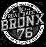 Man vintage t shirt graphic design Bronx Motorcycle Royalty Free Stock Photos