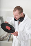 Man with vinyl Royalty Free Stock Photo
