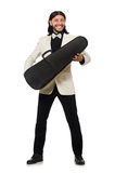The man with violin case on whtie Stock Photo