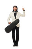 The man with violin case on whtie Royalty Free Stock Image