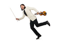 The man with violin playing on white Stock Images