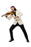 The man with violin playing on white Royalty Free Stock Photography