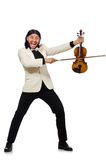 The man with violin playing on white Royalty Free Stock Photos