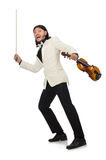 Man with violin playing on white Royalty Free Stock Photos