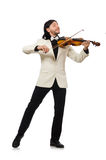 Man with violin playing on white Stock Images
