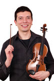 Man with violin posing Stock Photo