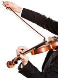Man violinist playing violin. Classical music art. Art and artist. Closeup of male hands. Man violinist fiddler playing violin isolated on white. Classical music Royalty Free Stock Photos
