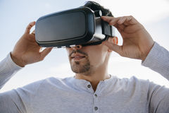Man With The Virtual Glasses Royalty Free Stock Image