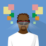 Man Virtual Reality African American Ethnic Stock Image