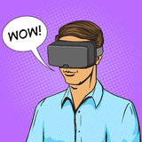 Man and virtual reality device comic book vector stock illustration