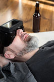 Man with virtual reality glasses, downview Stock Photo