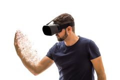 Man with virtual reality glasses royalty free stock photo
