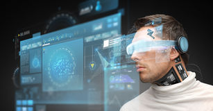 Man in virtual reality glasses and microchip Royalty Free Stock Photo