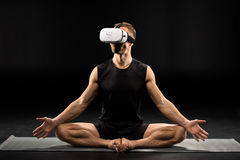 Man in virtual reality glasses Stock Photos
