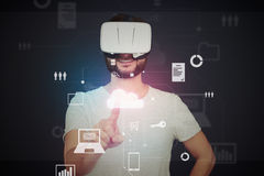 Man in virtual reality glasses using virtual touch screen techn Royalty Free Stock Photos