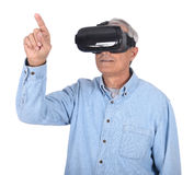 Man And Virtual Reality Goggles Royalty Free Stock Images