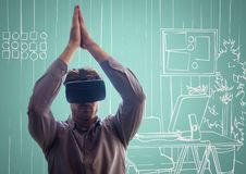 Man in virtual reality headset against aqua and white hand drawn office Royalty Free Stock Photo