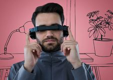 Man in virtual reality headset against pink and grey hand drawn office Stock Photography