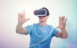 Man with virtual reality headset Stock Photography